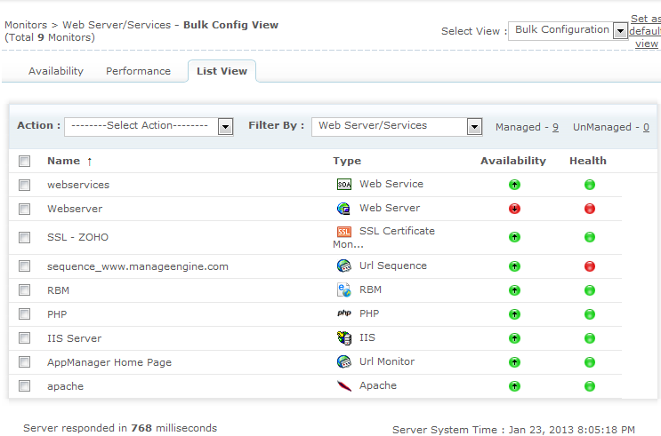 Web サーバー/Web監視 リストビュー