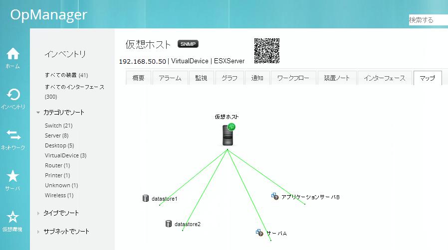 仮想化マップ ホストとゲストOSの関係性を可視化