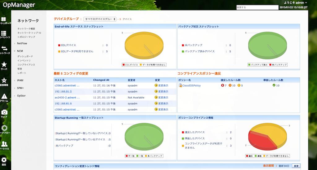 NCMオプション ダッシュボード画面