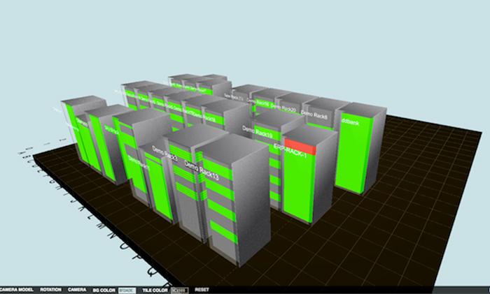 ダウンしているサーバーを赤で示している3Dラックビュー