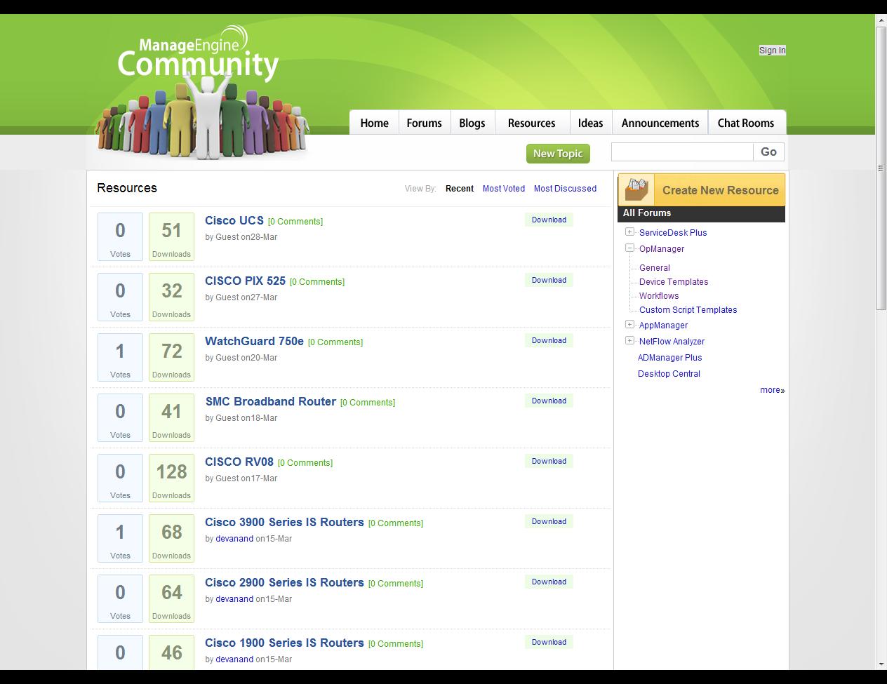 オンラインサポートフォーラム(米国サイト)のリソースページ